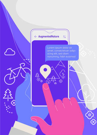 Augmented reality city tourism mobile app concept Illustration