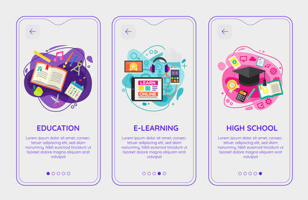 Flat design responsive E-learning and Education UI mobile app splash screens template with trendy illustrations 向量圖像