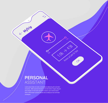 Trendy mobile UI mockups for travelling and planning Фото со стока - 131683185
