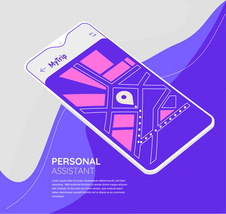 Trendy mobile UI mockups for travelling and planning Фото со стока - 131681418
