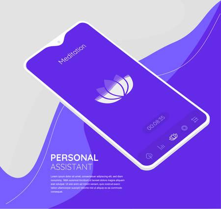 Trendy responsive Meditation and Mood UI with 3d mockups Иллюстрация
