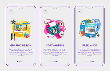 Trendy Web Developing and Freelance Mobile App Splash Onbard Screens