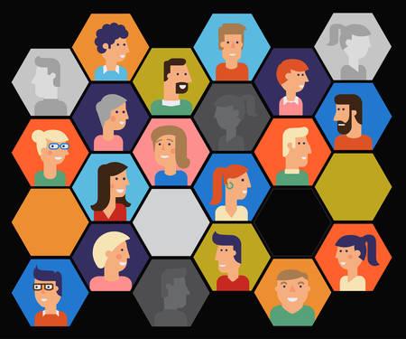 Vector set of material cartoon avatars. Characters for web Иллюстрация