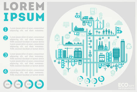 Abstract stylish cityscape infographics. Infographics elements collection with town, city elements Фото со стока - 132732791