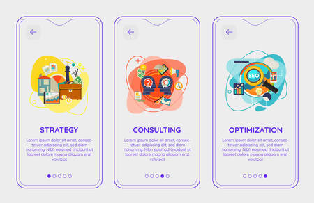 Trendy Consulting, Management, SEO and Strategy UI Mobile App Splash Onbard Screens Illustration