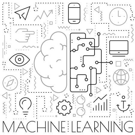 Artificial digital brain learning concept. Trendy bright vector illustration Фото со стока - 132732699