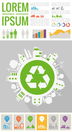 Ecological info graphics template of town and city Фото со стока - 132732914