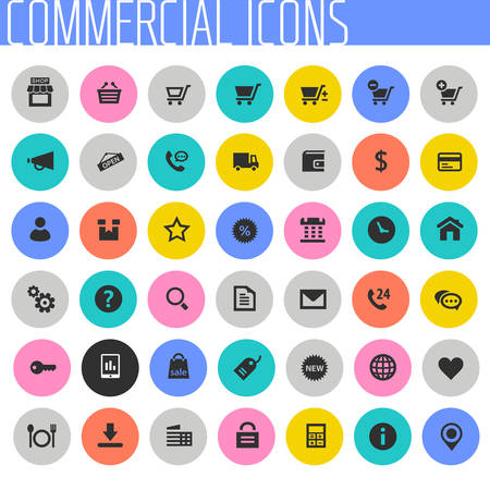 Big Commercial icon set, trendy flat icons Фото со стока - 132732932