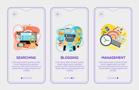 Trendy Search, Blogging and Management UI Mobile App Splash Onbard Screens