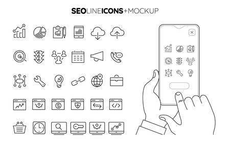 Line SEO icon set with line hands holding smartphone mockup