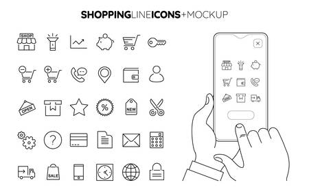 Line Shopping icon set with line hands holding smartphone mockup Иллюстрация