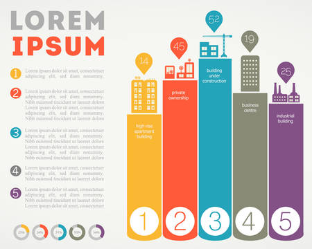 Trendy futuristic eco city infographics templates with various elements Иллюстрация