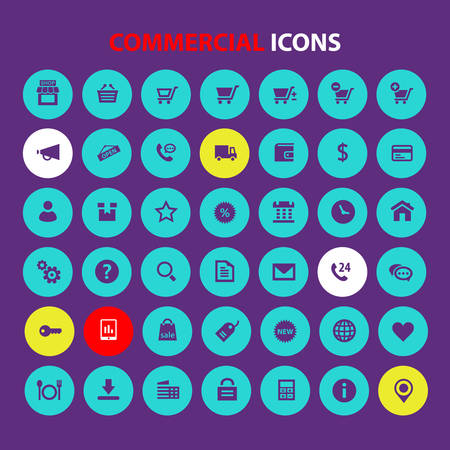 Big All Commercial icon set, trendy flat icons