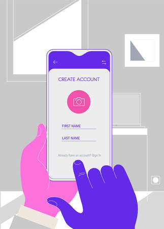 Mobile App UI Sign In and Sign Up screens mockup kit Ilustracja