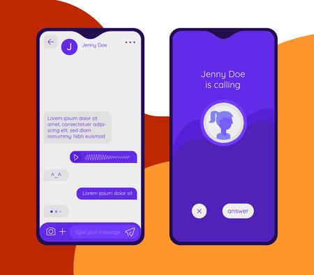 Chat and messenger mobile app concept. Trendy flat design vector illustration