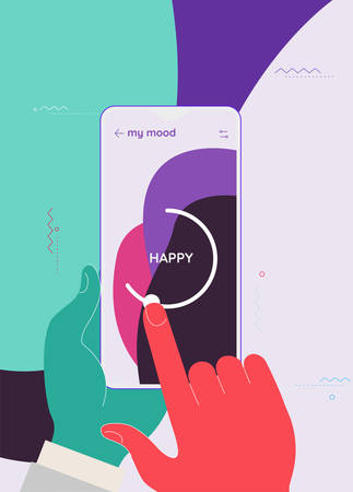 Trendy responsive Meditation, Relax and Mood Control UI with 3d smartphone mockups
