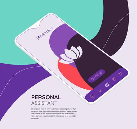 Trendy responsive Meditation and Mood UI with 3d mockups Ilustracja