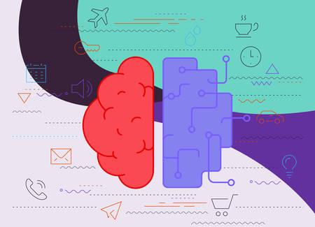 Artificial intelligence concept. Trendy linear vector illustration Ilustracja