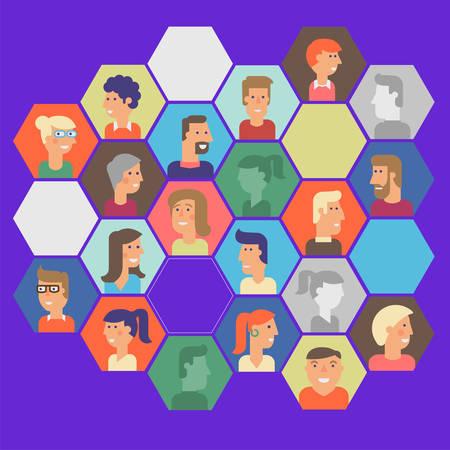 Vector set of material cartoon avatars. Characters for web 일러스트