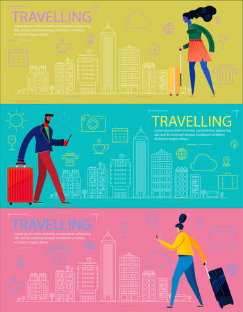 Traveling Concept Banners. Trendy Character Design Illustration