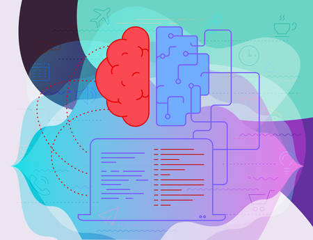 Artificial digital brain learning and machine thinking concept. Trendy bright vector illustration Ilustracja