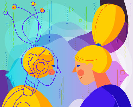 Concept banner with woman using his voice to command to the robot. Robotic voice assistant concept. Trendy bright linear illustration. At home and work, everywhere 向量圖像