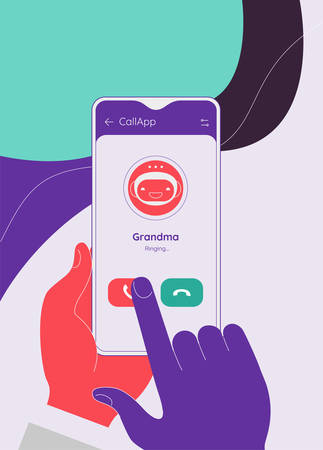 Flat design modern concept with hands holding mobile device with phone call application. Trendy vector application