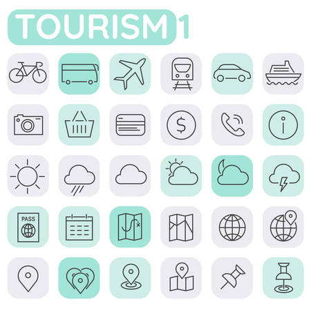 Inline Shopping Icons Collection, trendy linear icons