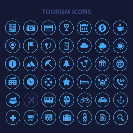 Big Tourism and Travel icon set, trendy flat icons