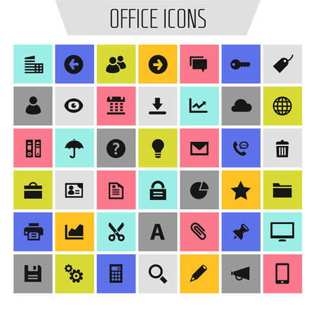 Big Office icon set, trendy flat icons