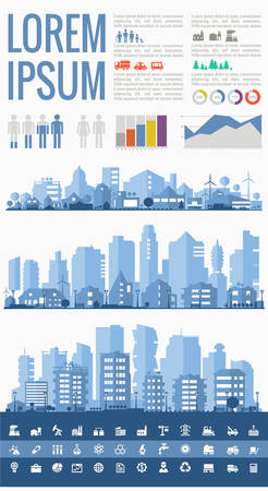 Abstract stylish cityscape infographics. Infographics elements collection with town, city elements