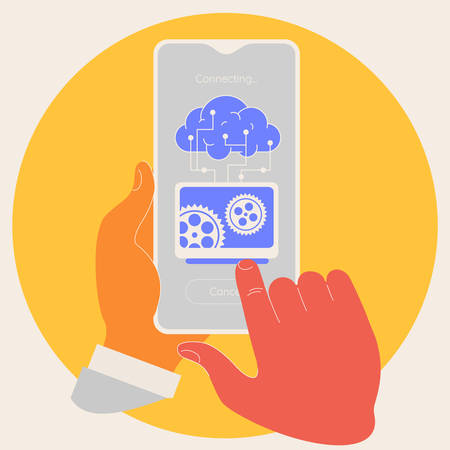 Artificial intelligence in mobile phone concept. Trendy vector illustration