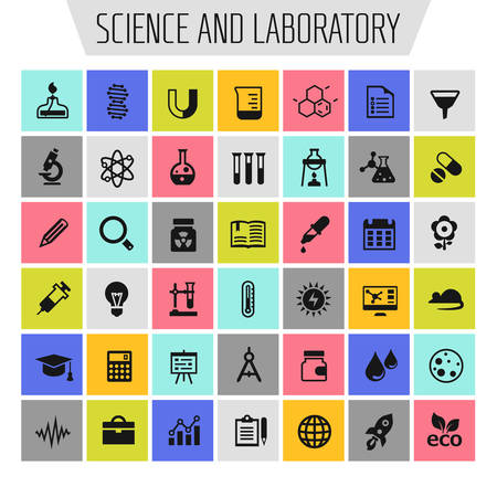 Big science icon set, trendy flat icons