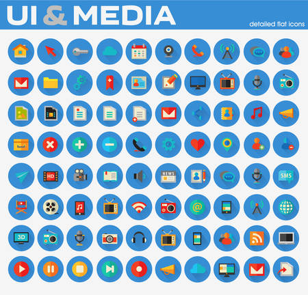 Ui and Multimedia big flat trendy icon set