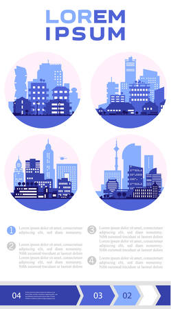 Abstract cityscapes infographics. Town, city elements collection