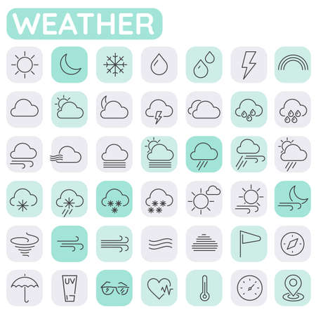 Weather and meteorologic trendy line thin icons