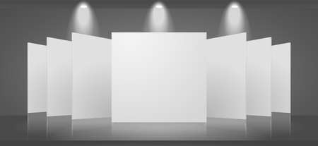 Exhibition 3d exhibition scene template with transparent lights and shadows 矢量图像