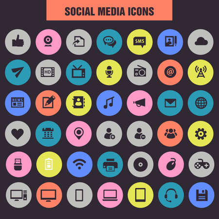 Big Social Media icon set, trendy flat icons Иллюстрация