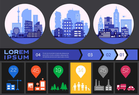 Trendy futuristic eco city infographics templates with various elements Иллюстрация