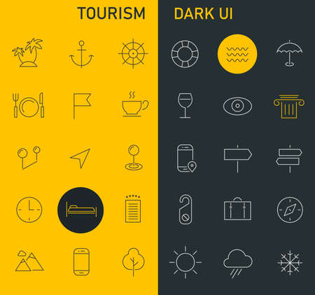 Inline Tourism Icons Collection, trendy linear icons