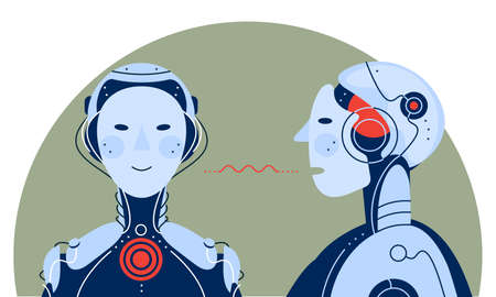 Artificial intelligence communicating itself concept trendy illustration