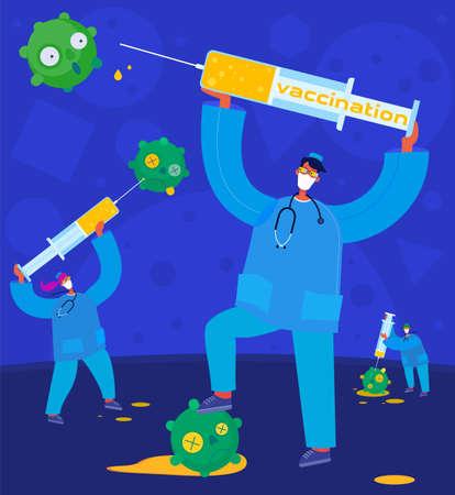 Concept of a persone with a vaccine for coronavirus COVID-19