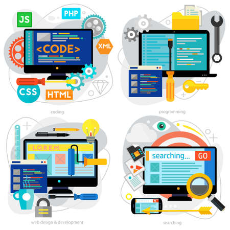 Coding, Programming, Scripting and Development Concept Banners