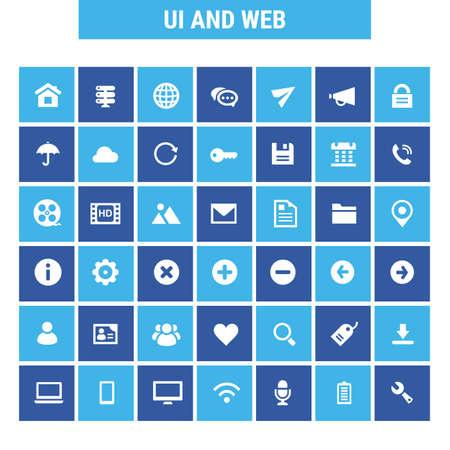 Big UI and Internet icon set, trendy flat icons