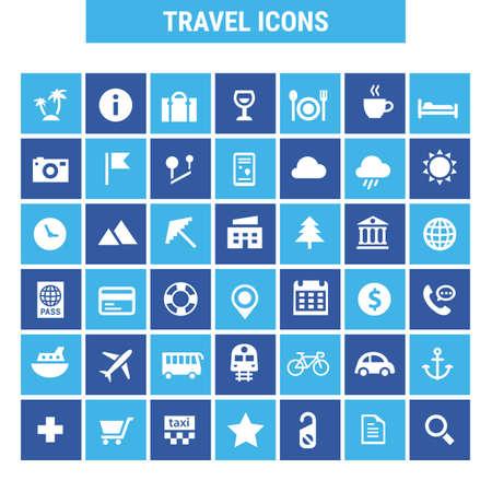 Big tourism icon set, trendy line icons collection