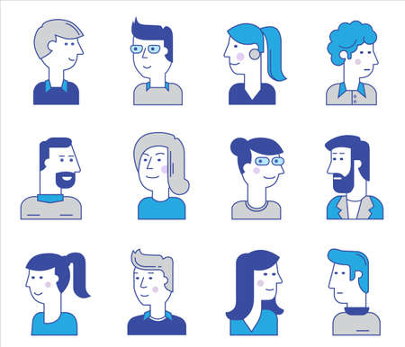 Material cartoon avatars, vector trendy characters collection
