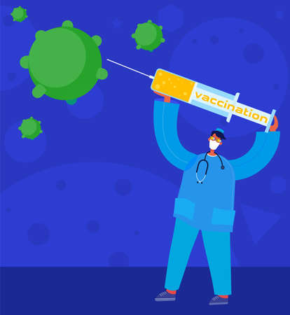 Concept of a person with a vaccine for virus