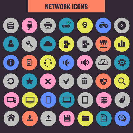 Big Server and Network icon set, trendy flat icons
