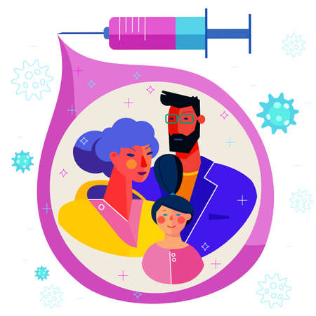 Concept of a family vaccinated against virus