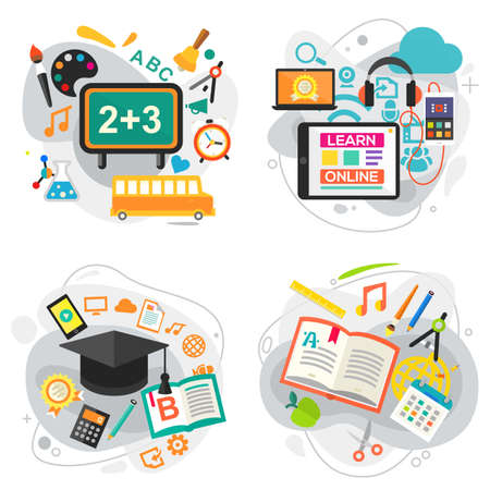 E learning, Education and School Concept Banners Ilustrace